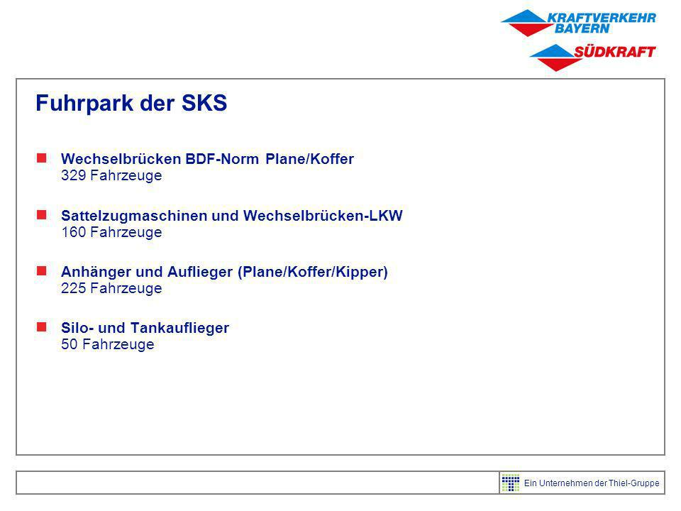 Fuhrpark der SKS Wechselbrücken BDF-Norm Plane/Koffer 329 Fahrzeuge
