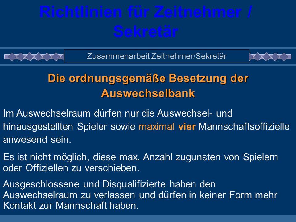 Richtlinien für Zeitnehmer / Sekretär