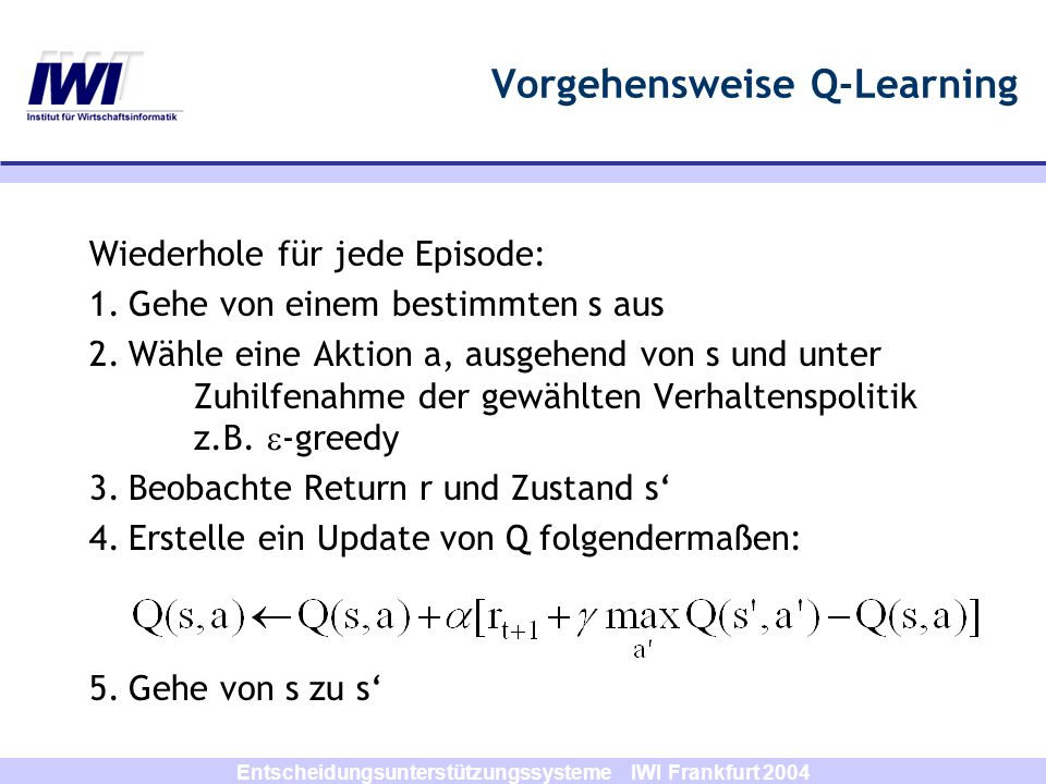 Vorgehensweise Q-Learning