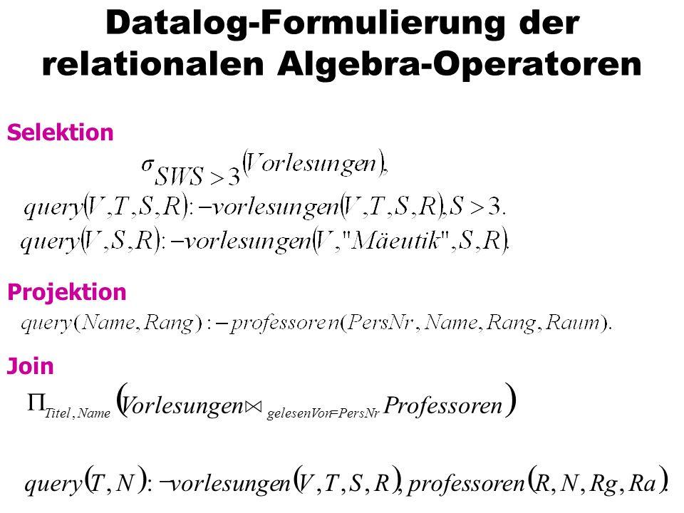 Datalog-Formulierung der relationalen Algebra-Operatoren