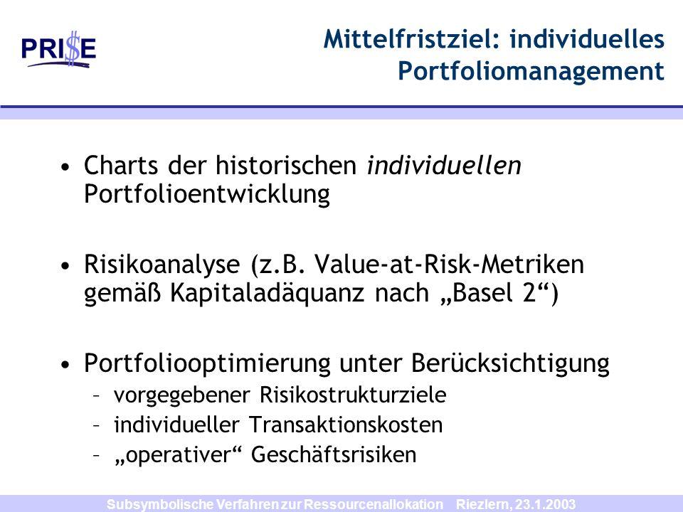 Mittelfristziel: individuelles Portfoliomanagement
