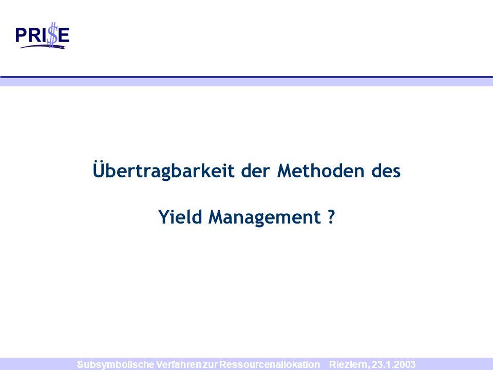 Übertragbarkeit der Methoden des Yield Management