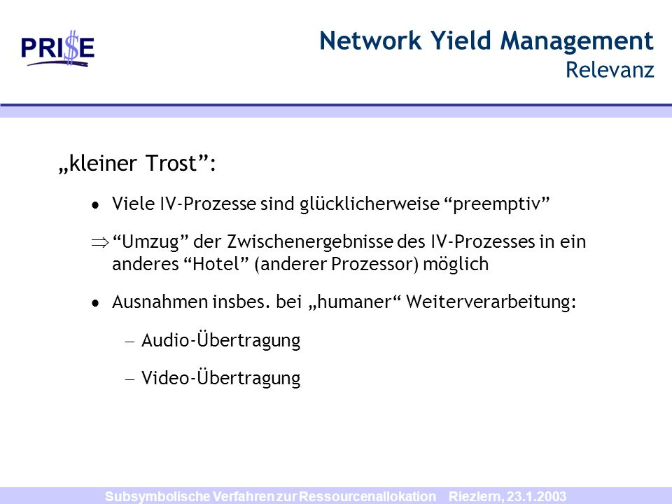 Network Yield Management Relevanz