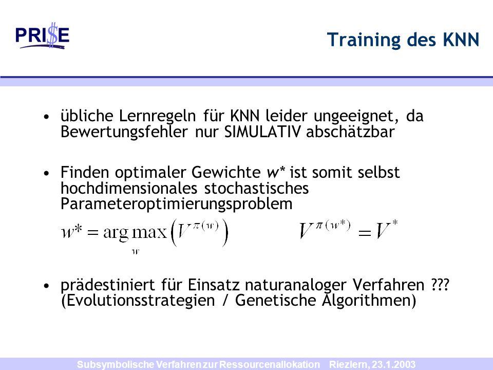 Subsymbolische Verfahren zur Ressourcenallokation Riezlern, 23.1.2003