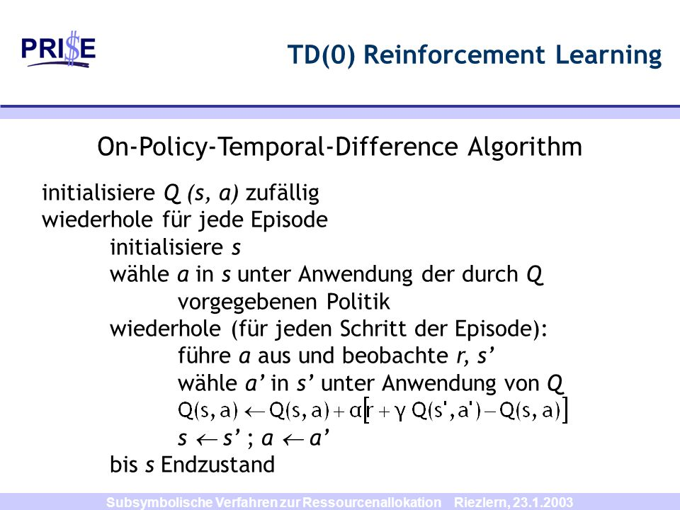 TD(0) Reinforcement Learning