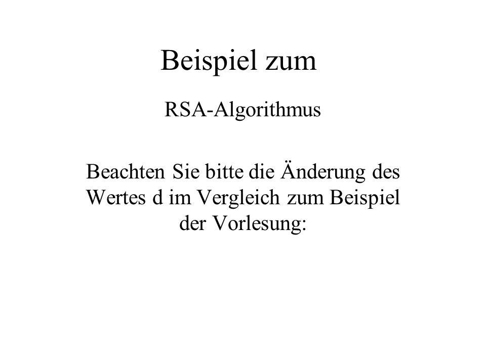 Beispiel zum RSA-Algorithmus