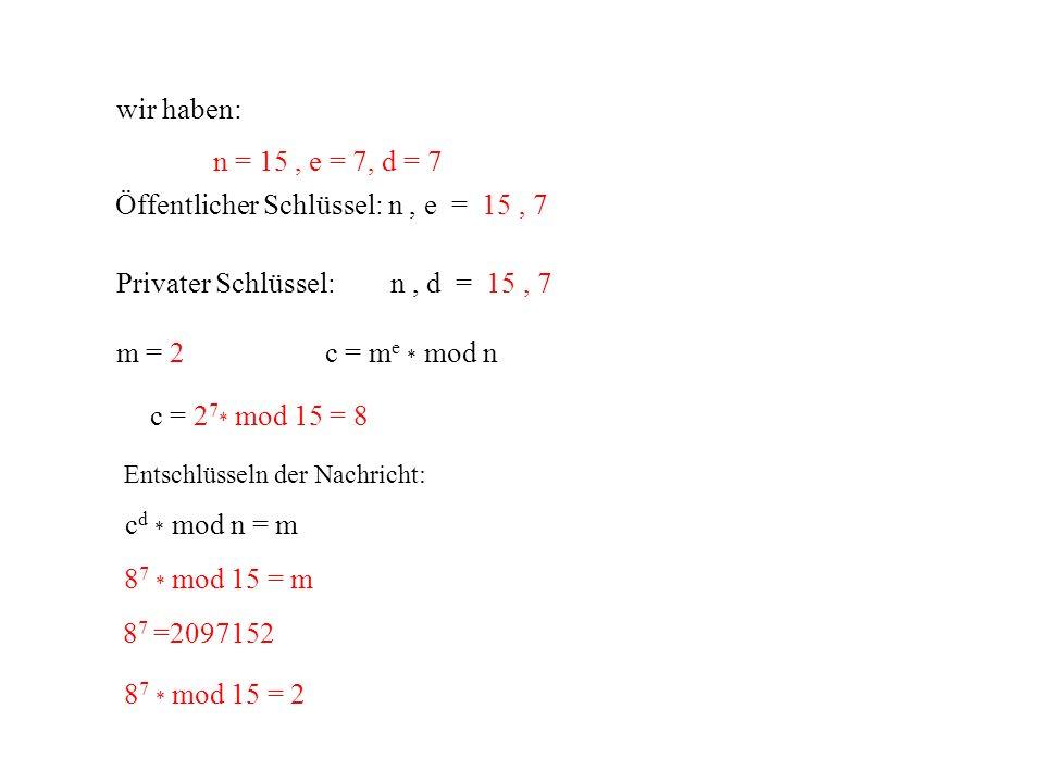 Öffentlicher Schlüssel: n , e = 15 , 7