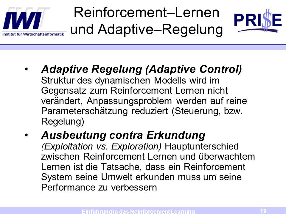 Reinforcement–Lernen und Adaptive–Regelung