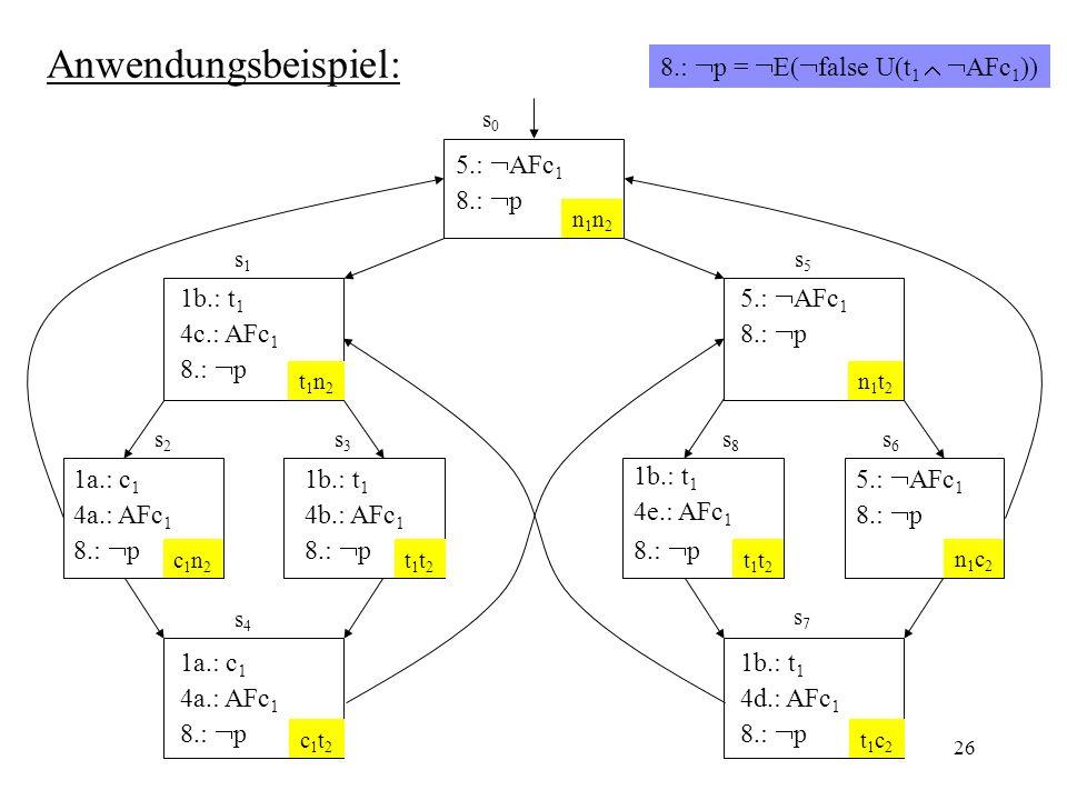 Anwendungsbeispiel: 8.: p = E(false U(t1  AFc1))