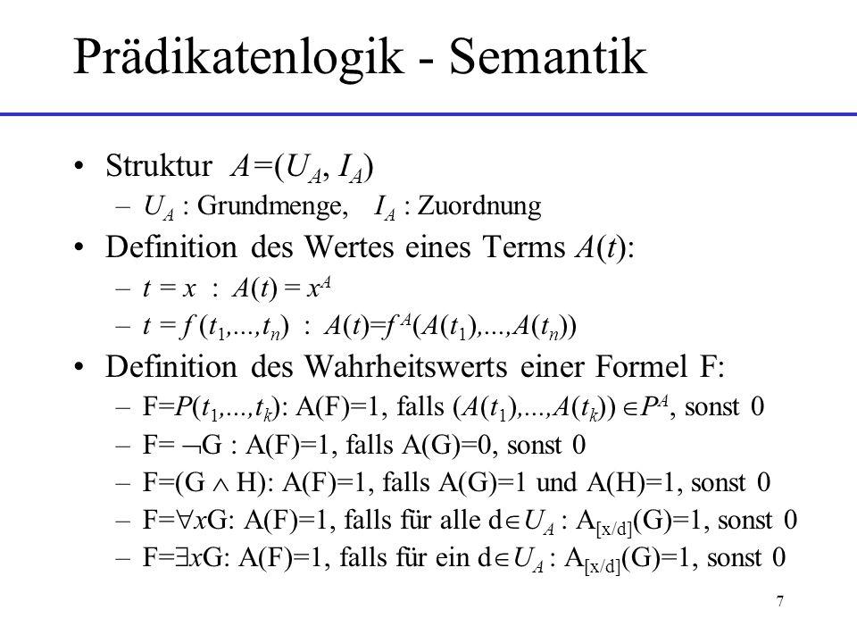 Prädikatenlogik - Semantik