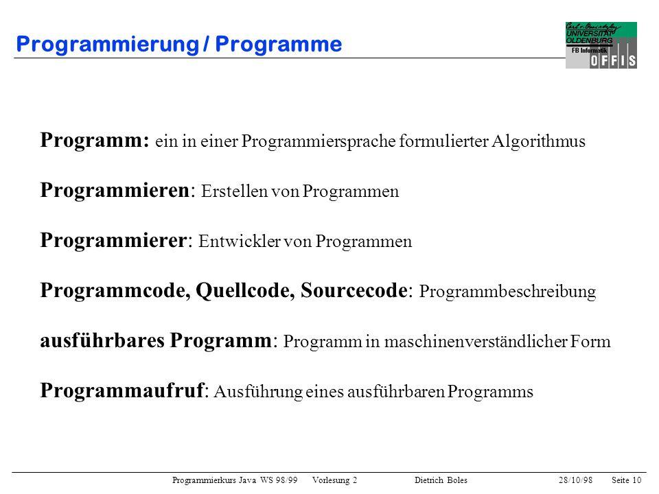 Programmierung / Programme