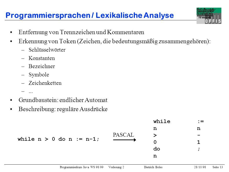 Programmiersprachen / Lexikalische Analyse