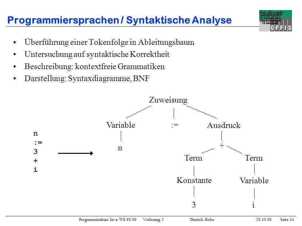 Programmiersprachen / Syntaktische Analyse