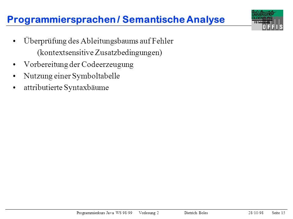 Programmiersprachen / Semantische Analyse