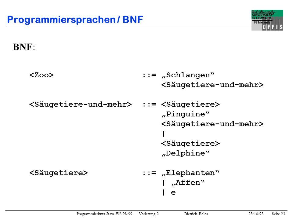 Programmiersprachen / BNF