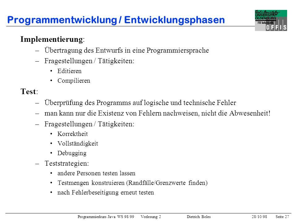 Programmentwicklung / Entwicklungsphasen