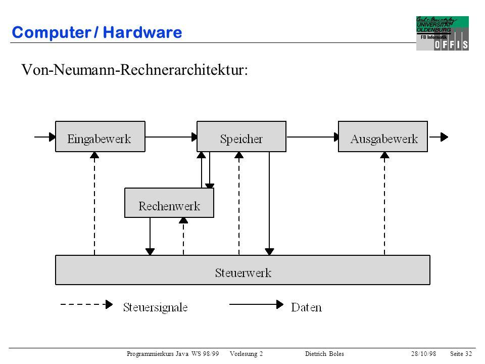 Computer / Hardware Von-Neumann-Rechnerarchitektur: