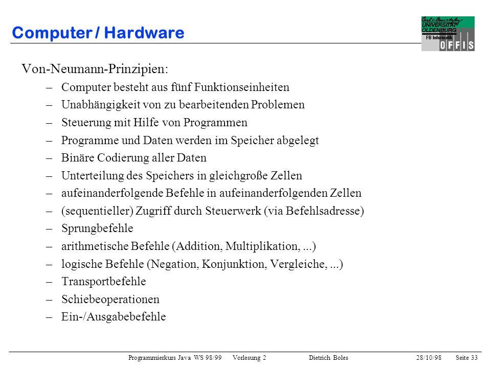 Computer / Hardware Von-Neumann-Prinzipien: