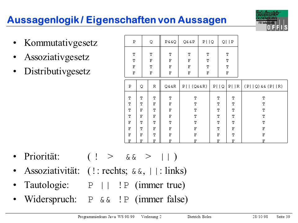 Aussagenlogik / Eigenschaften von Aussagen