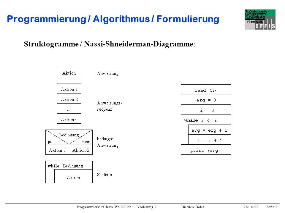 Programmierung / Algorithmus / Formulierung