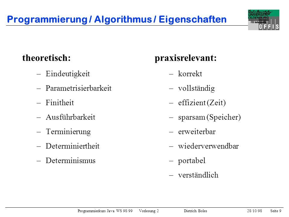 Programmierung / Algorithmus / Eigenschaften