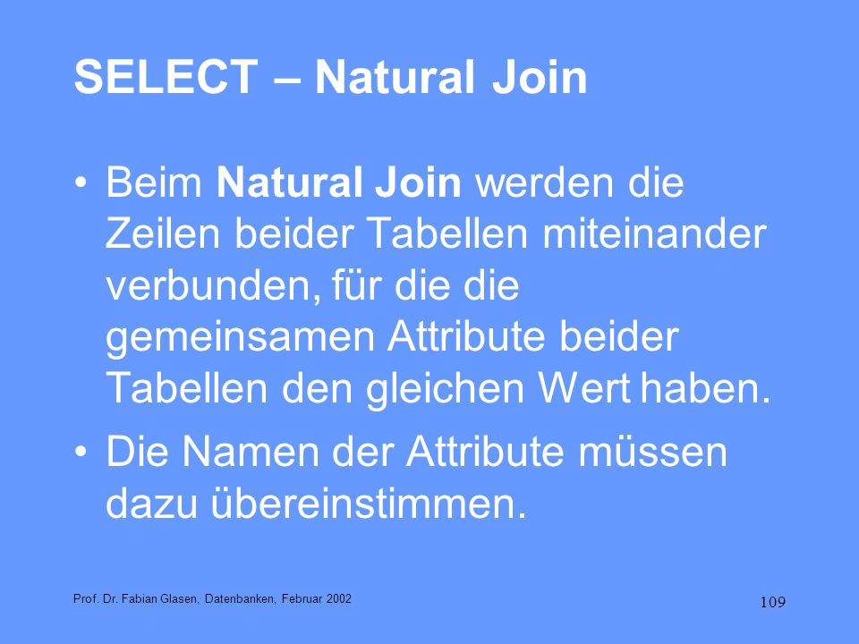 SELECT – Natural Join