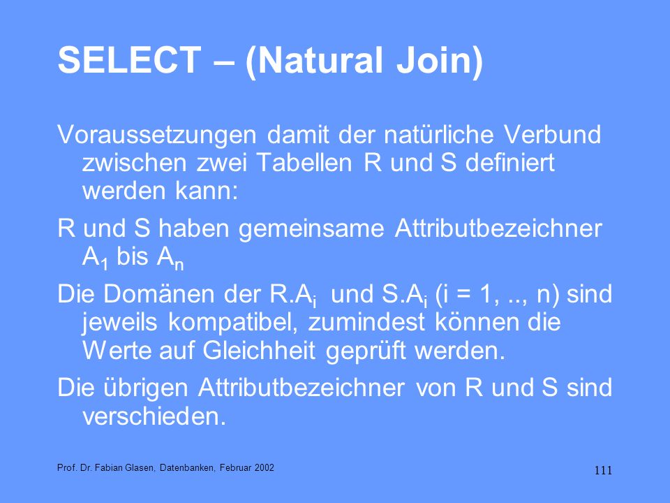 SELECT – (Natural Join)