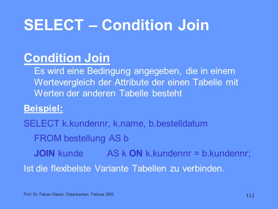 SELECT – Condition Join
