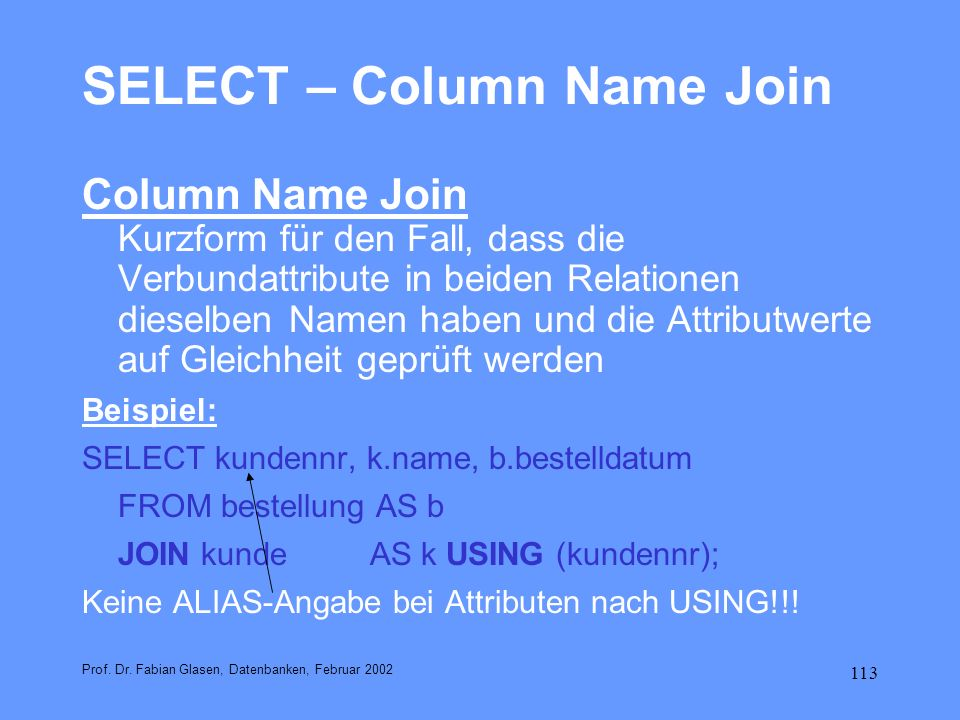 SELECT – Column Name Join