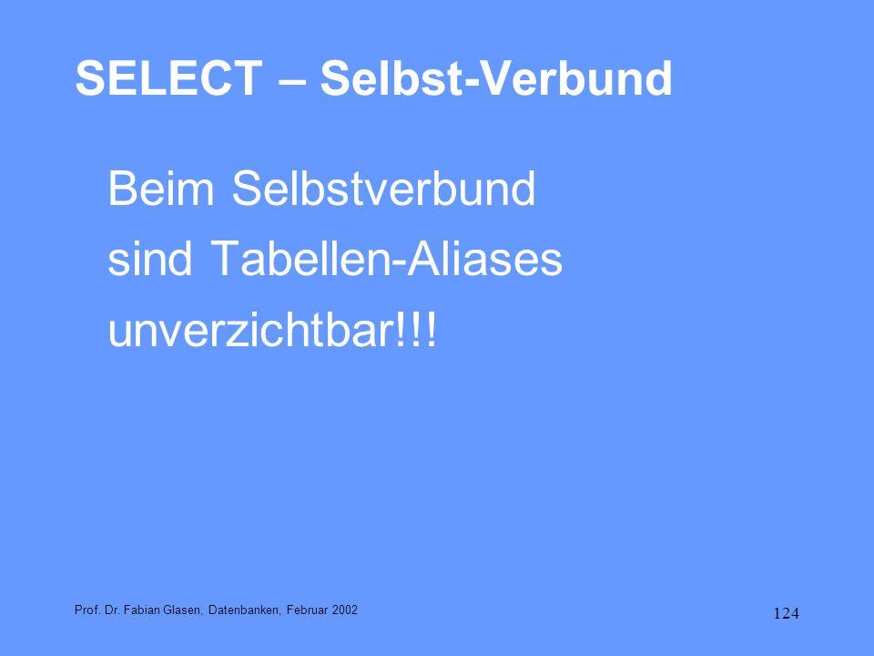 SELECT – Selbst-Verbund