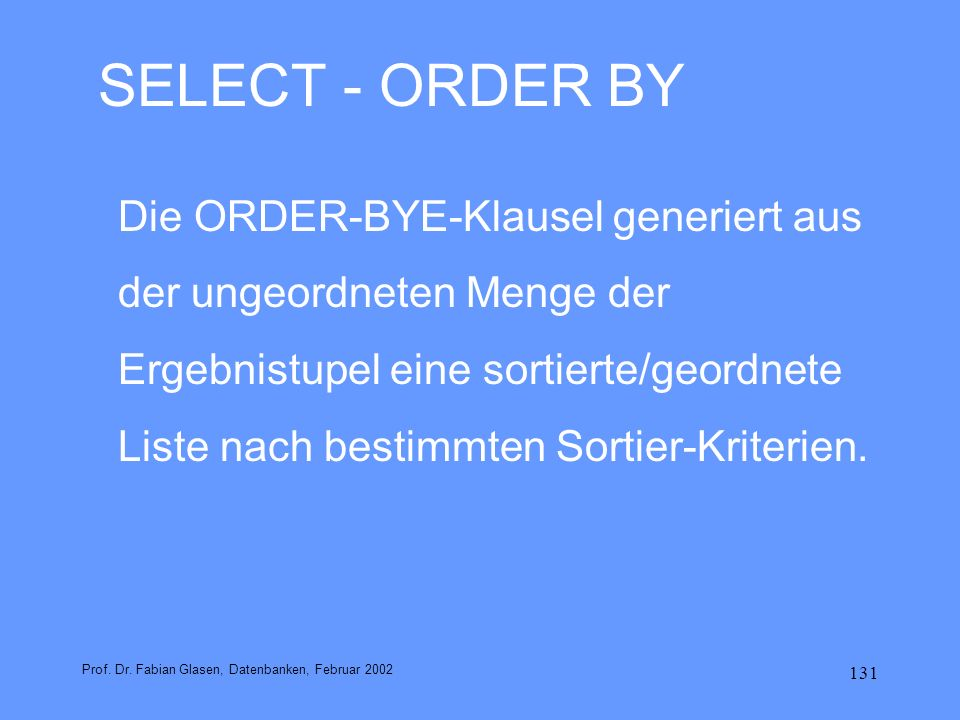 SELECT - ORDER BY
