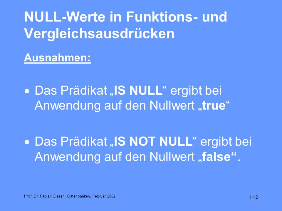 NULL-Werte in Funktions- und Vergleichsausdrücken