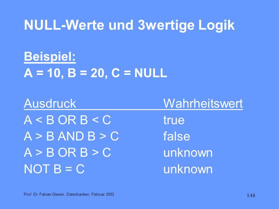 NULL-Werte und 3wertige Logik