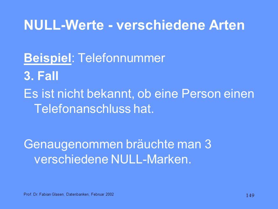 NULL-Werte - verschiedene Arten