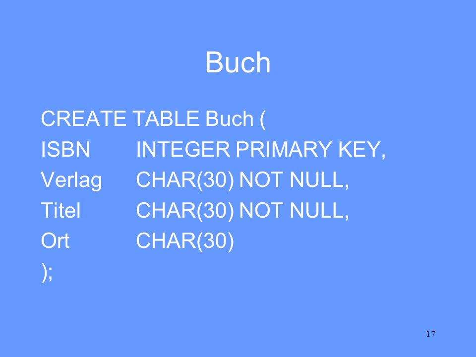 Buch CREATE TABLE Buch ( ISBN INTEGER PRIMARY KEY,