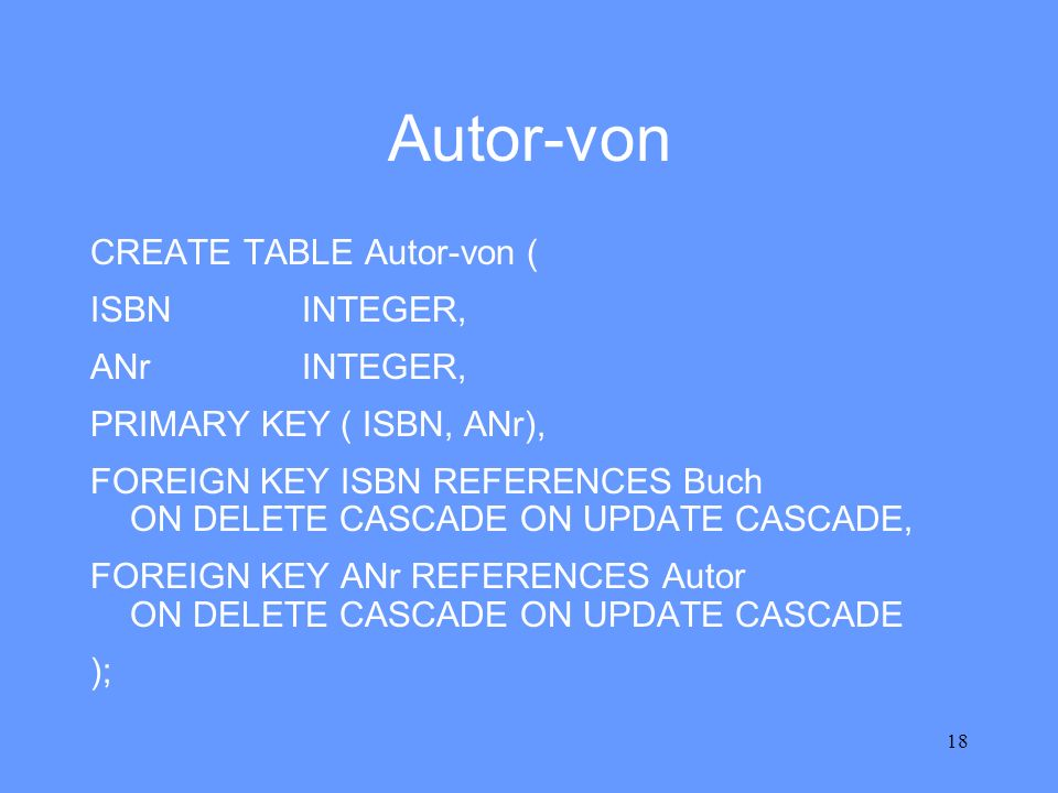 Autor-von CREATE TABLE Autor-von ( ISBN INTEGER, ANr INTEGER,