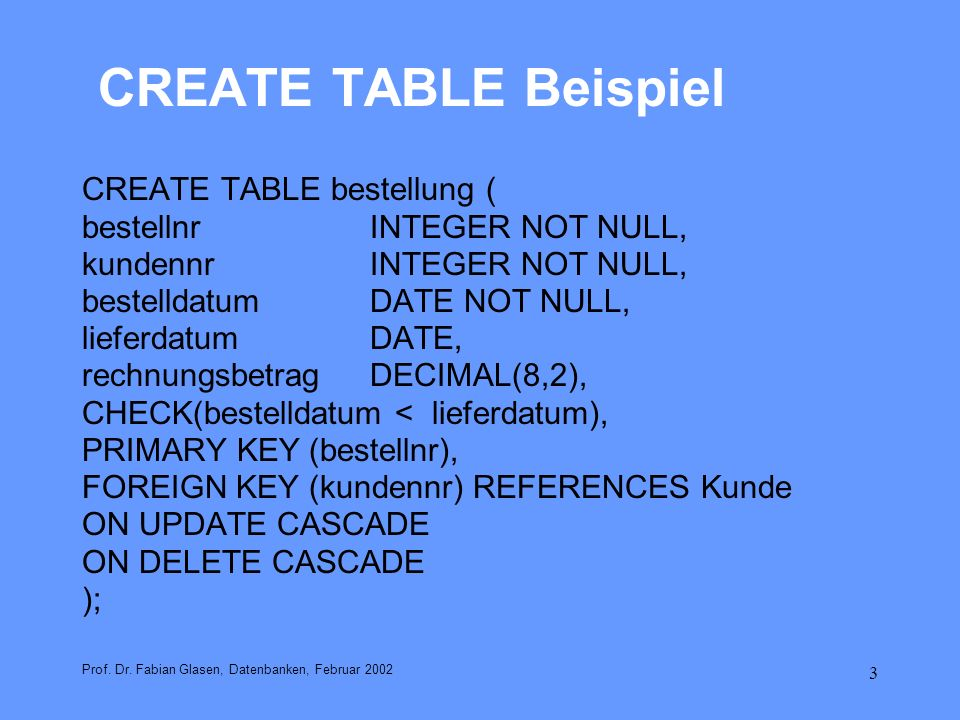 CREATE TABLE Beispiel CREATE TABLE bestellung (
