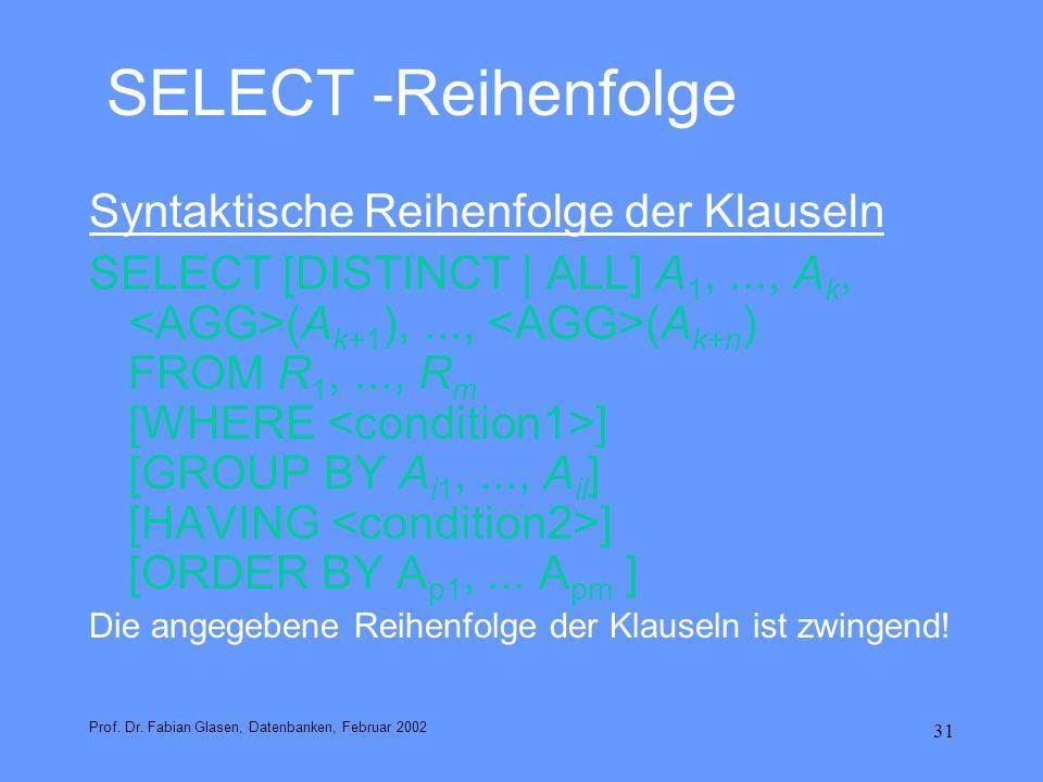 SELECT -Reihenfolge Syntaktische Reihenfolge der Klauseln