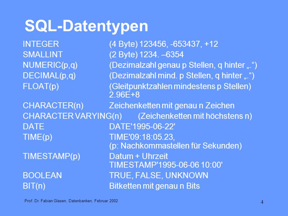 SQL-Datentypen INTEGER (4 Byte) 123456, -653437, +12