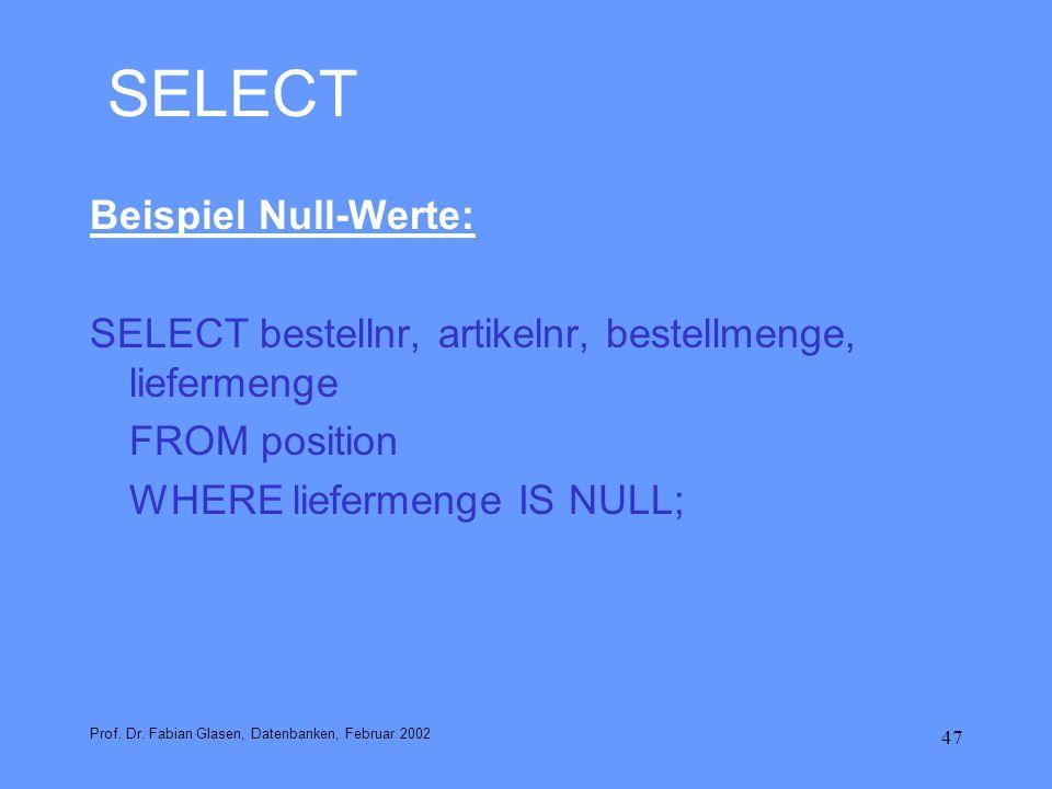 SELECT Beispiel Null-Werte: