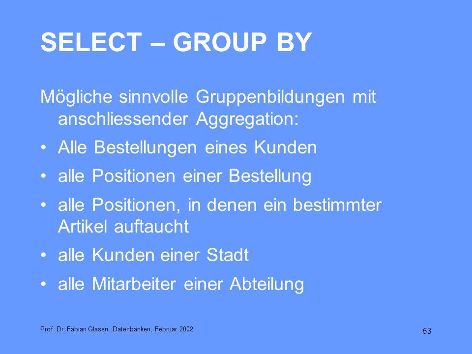 SELECT – GROUP BY Mögliche sinnvolle Gruppenbildungen mit anschliessender Aggregation: Alle Bestellungen eines Kunden.