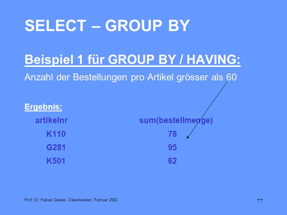 SELECT – GROUP BY Beispiel 1 für GROUP BY / HAVING: