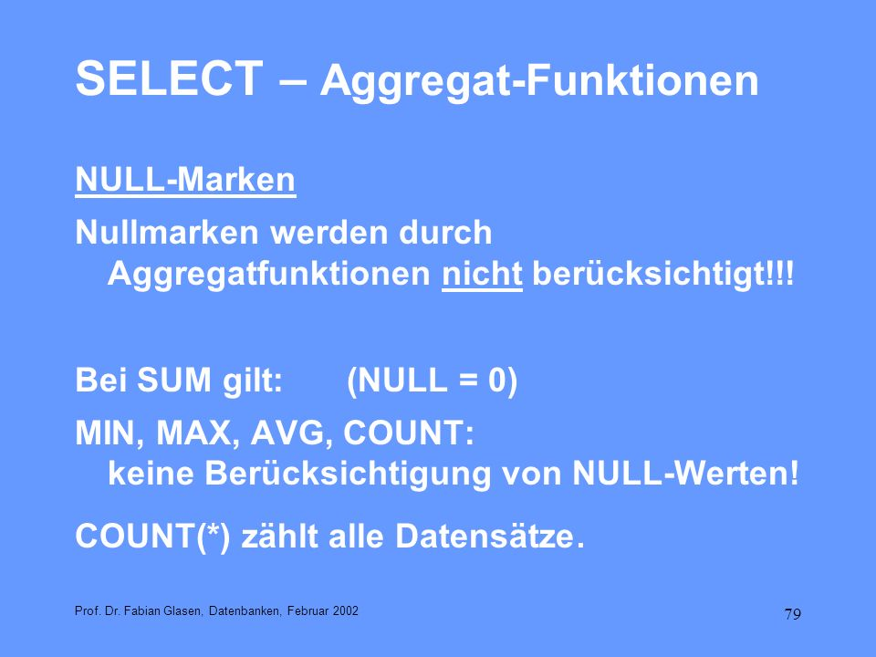 SELECT – Aggregat-Funktionen