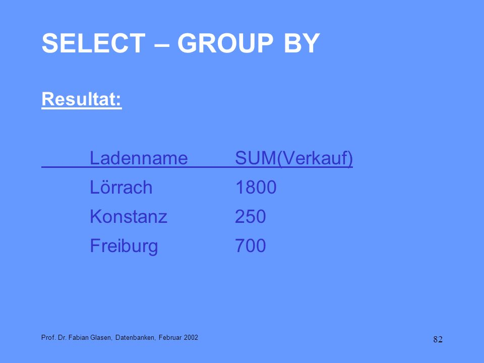 SELECT – GROUP BY Resultat: Ladenname SUM(Verkauf) Lörrach 1800