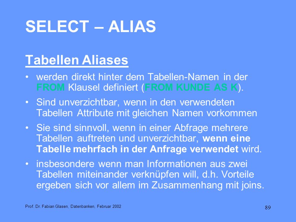 SELECT – ALIAS Tabellen Aliases
