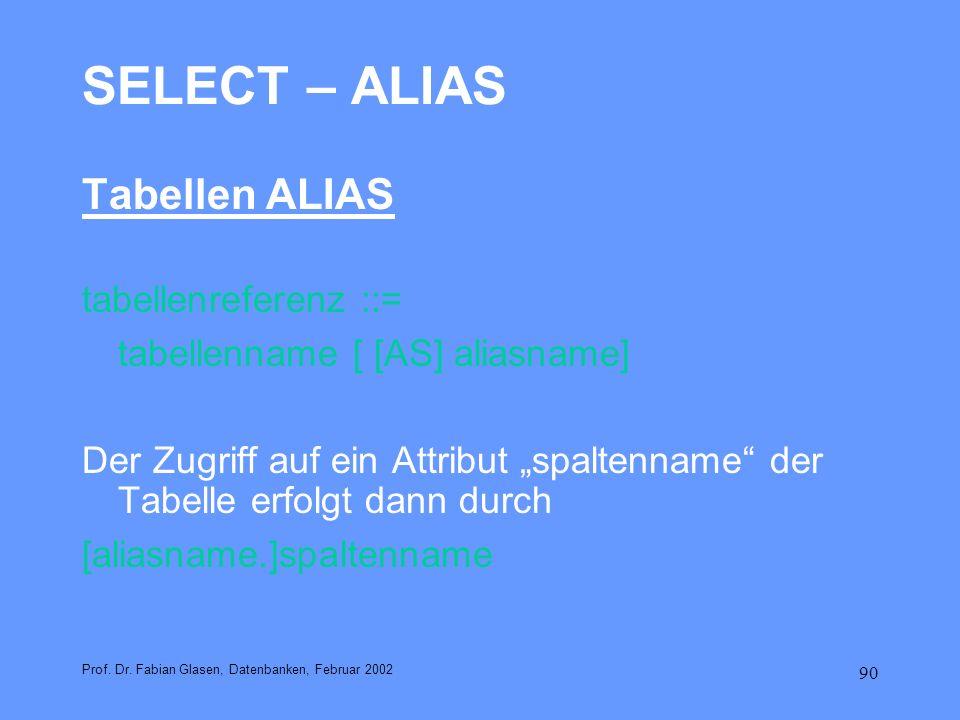 SELECT – ALIAS Tabellen ALIAS tabellenreferenz ::=