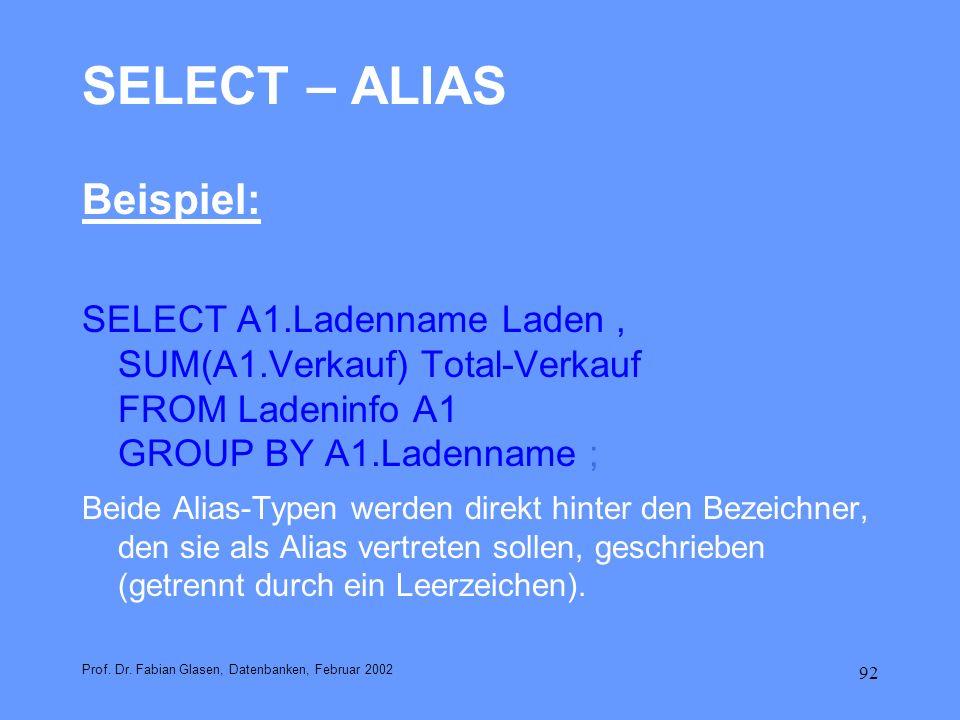 SELECT – ALIAS Beispiel: