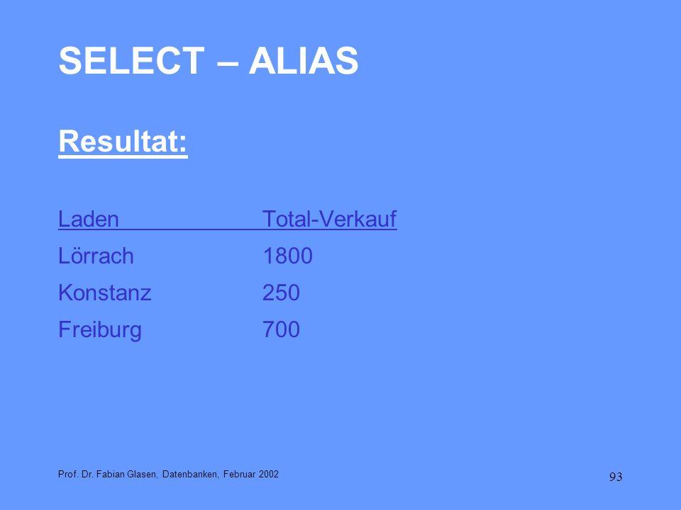 SELECT – ALIAS Resultat: Laden Total-Verkauf Lörrach 1800 Konstanz 250