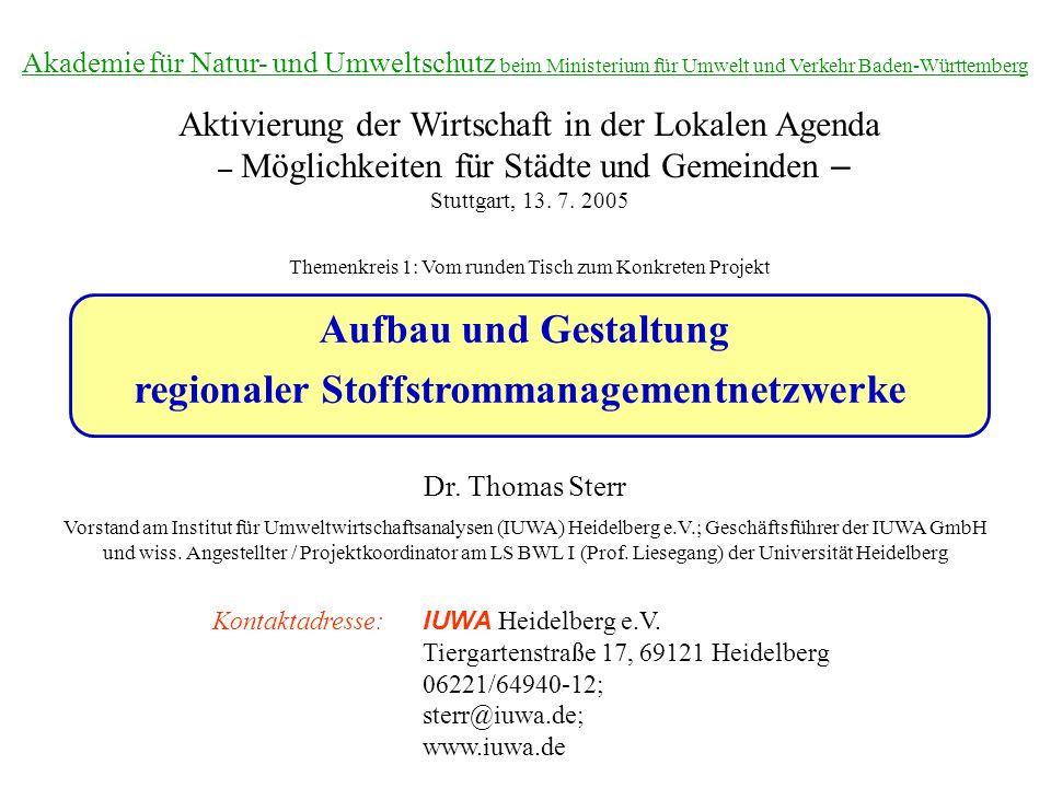 Aufbau und Gestaltung regionaler Stoffstrommanagementnetzwerke