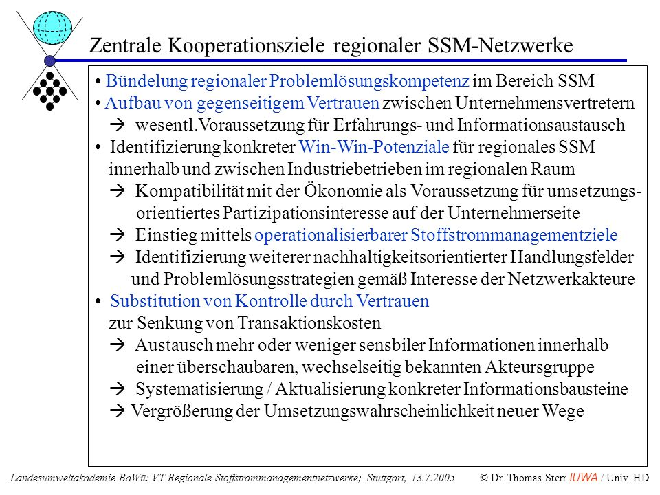 Zentrale Kooperationsziele regionaler SSM-Netzwerke